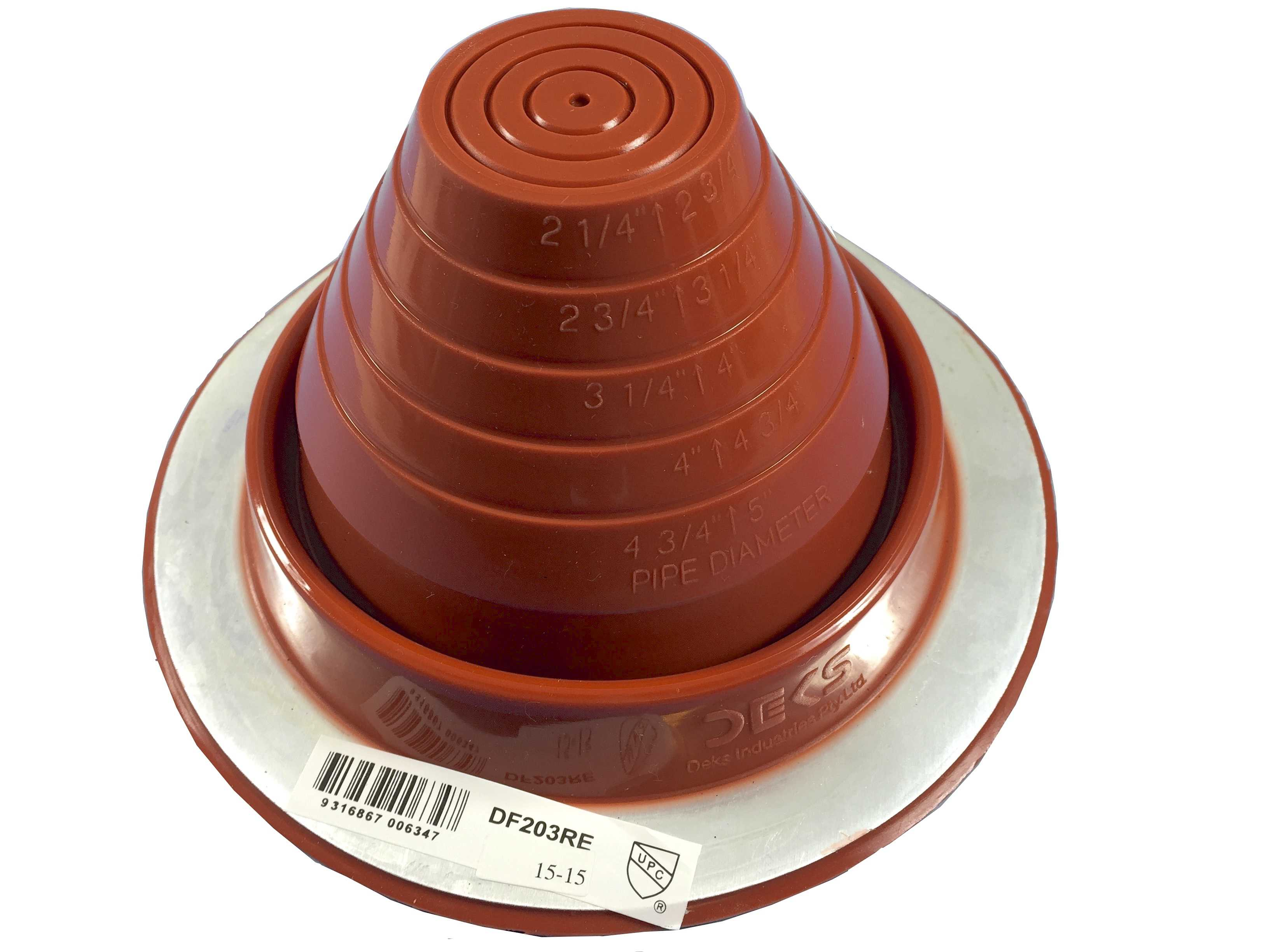 DEKTITE ROUND BASE METAL ROOFING PIPE FLASHING BOOT: #3 RED High Temp Silicone Flexible Pipe Flashing Dektite (for OD pipe sizes 1/4' - 5') - Metal Roof Jack Pipe Boot - Metal Roofing Pipe Flashing