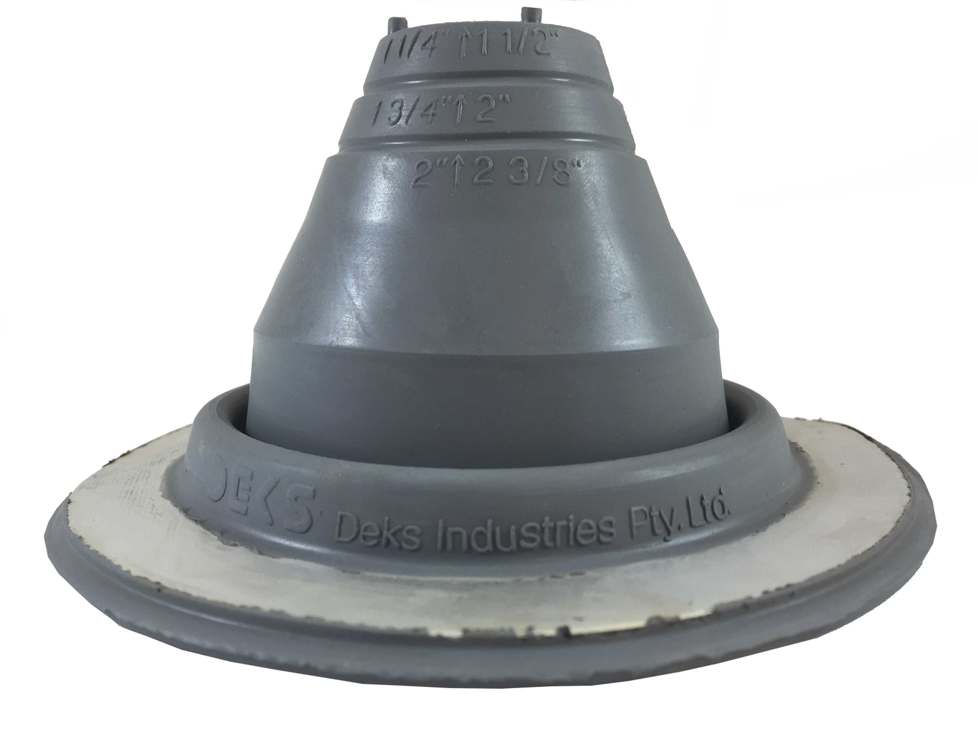 DEKTITE ROUND BASE METAL ROOFING PIPE FLASHING BOOT: #1 GRAY EPDM Flexible Pipe Flashing Dektite (for OD pipe sizes 1/4' - 2') - Metal Roof Jack Pipe Boot - Metal Roofing Pipe Flashing - Deks Dektite