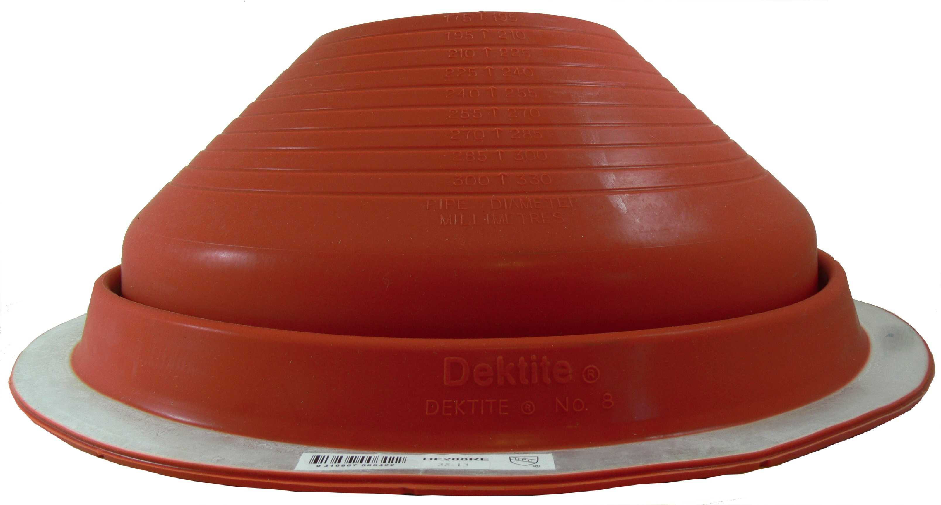 DEKTITE ROUND BASE METAL ROOFING PIPE FLASHING BOOT: #8 RED High Temp Silicone Flexible Pipe Flashing Dektite (for OD pipe sizes 7' - 13') - Metal Roof Jack Pipe Boot - Metal Roofing Pipe Flashing