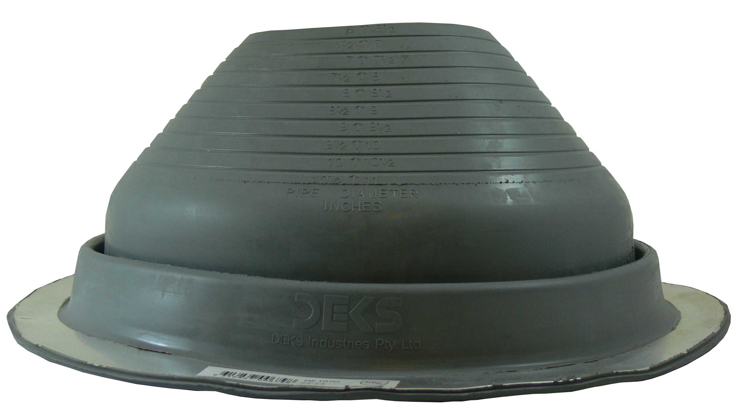 DEKTITE ROUND BASE METAL ROOFING PIPE FLASHING BOOT: #7 GRAY EPDM Flexible Pipe Flashing Dektite (for OD pipe sizes 6' - 11') - Metal Roof Jack Pipe Boot - Metal Roofing Pipe Flashing - Deks Dektite