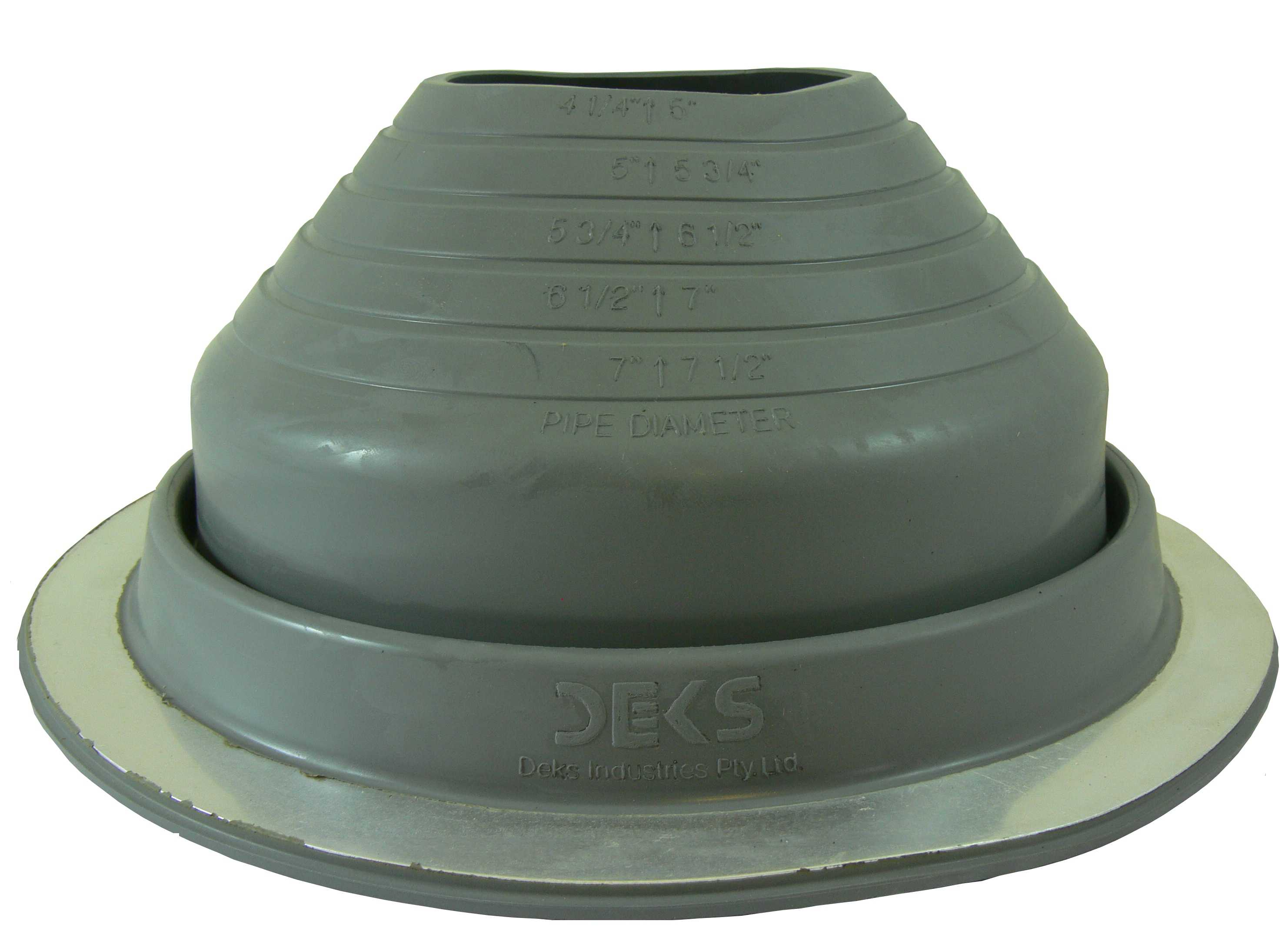 DEKTITE ROUND BASE METAL ROOFING PIPE FLASHING BOOT: #5 GRAY EPDM Flexible Pipe Flashing Dektite (for OD pipe sizes 4' - 7') - Metal Roof Jack Pipe Boot - Metal Roofing Pipe Flashing - Deks Dektite
