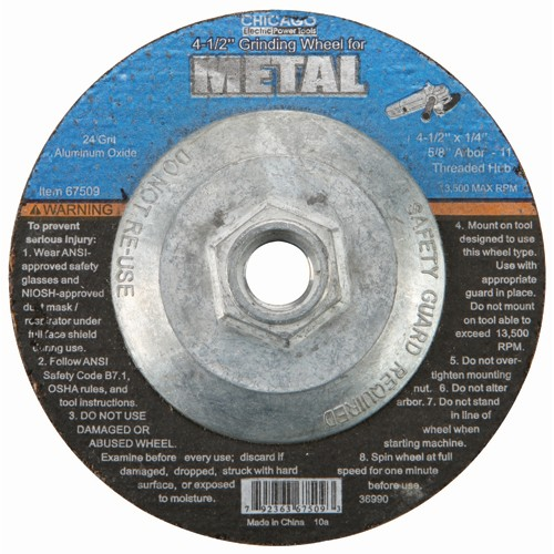 4-1/2 in. 24 Grit Depressed Center Metal Grinding Wheel